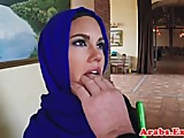 Arabian muslim fucked in hijab before facial cumshot with lucky guy
