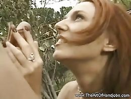 Redhead makes the handjob so easy to rub and pops out cum