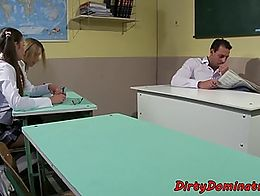 Tiedup euro dominated in the classroom by her mistress