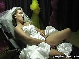 Before the bride moves to the honeymoon, the entire wedding party cum on her face and in her mo...