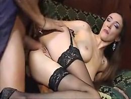 Brunette bitch gets her asshole widened roughly by horny guy