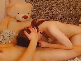 Watch this beautiful redhead teen in her boyfriends dorm giving her nerdy BF a nice blowjob ins...