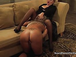 The dominating Mistress enjoys in good pussy licking from her submissive slave, who wears colla...