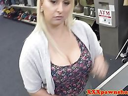 Busty pawnee fucked for cash after twerking then gets facial
