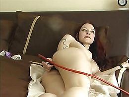 girl enjoying her long enema nozzle 2