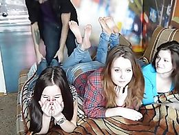 A lucky man gets to tickle some teen feet!