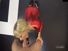 blonde hottie skin-tight suit quickie with her stepda