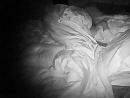new camera with night vision catches her getting herself off a couple of times in the dark