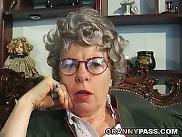 German grandma fingering her pussy and ass