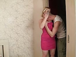 Young beautiful Curvy Blonde Russian girl with Shaved getting fucked hard by bald lover