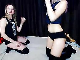 Watch this pretty lesbians while their pleasure each other live on a webcam show Making out wit...