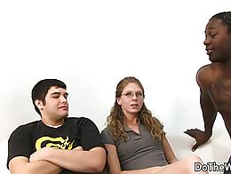 Cuckold couple meets a black guy Her hubby undresses her She sucks the black dick Then the blac...