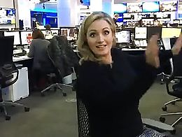 SkySports presenter Hayley Mcqueen showing her sexy legs in black tights.