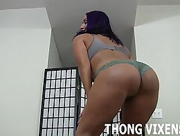 I love wearing my brand new thong for you, I just feel so strong and sexy in it. I bet you thin...