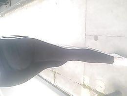 Cousin wearing a thong under her leggings, so hot love that ass!