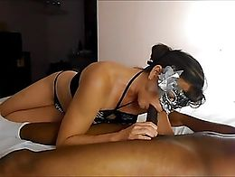 My slut wife sucked off a black guy a while back in a cheap motel room and loved it. He nutted ...