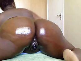 Oiled ebony lovelypussy gets assfuck 18flirt
