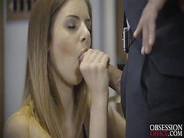 Hot stockings babe Stella Cox takes Kais impressive dick