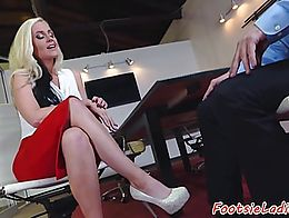 Busty babe toelicked and assfucked in the office
