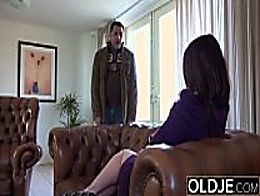 Old Young Amazing BIG TITS girl fucks old man c