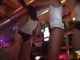 The money round of this wild contest in Key West, Fla . Hot coeds getting naked on the bar in t...