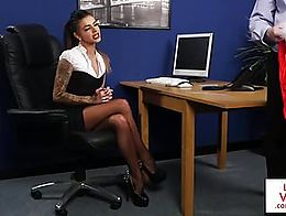 Uk sub spanked n humiliated by office femdom before JOI
