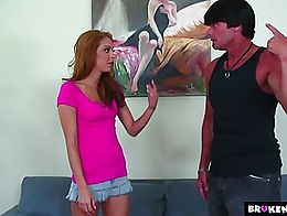 This young teen wants to try a real big cock and there is an opportunity right there.