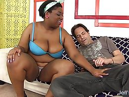 Ebony plumper sucks a white dick and then takes the dick in her black pussy and get fucked good...