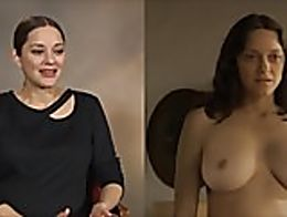 A split screen compilation of celebrities clothed vs their nude scenes
