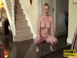 Pissing uk slut squats wets the floor