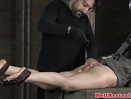 Chained sub toyed during roughsex by maledom after getting mouthgag