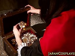 Squirting nippon cosplay babe doggystyled in roleplay threesome