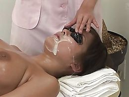 Bizarre Japanese full body oil massage featuring a cum facial masque with the additional help o...