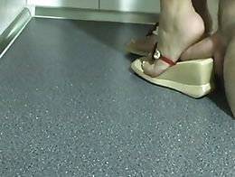 Wife trample my cock