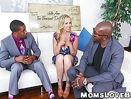 Hot blonde MILF Julia Ann hammered in threesome by BBCs after winning a big sum of money, she s...
