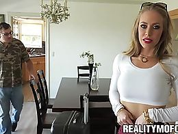 Stunning blonde babe Nicole Aniston pussy pounded by friend. Sexy tall blonde babe drilled in h...
