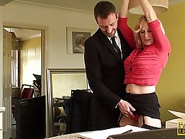 British sub milf in stockings bouncing ontop maledoms cock