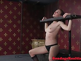 Whipped clitpierced submissive anal punished by maledom