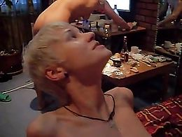 Russian sort haired blonde fucked by her nerdy BF