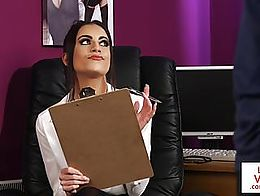 British CFNM office babe instructs sub guy to jerkoff