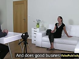 Lingeried casting babe wanks agent cock before riding it doggystyle