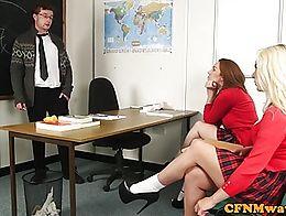 Schoolgirl cfnm wanking teachers cock until cum onto desk