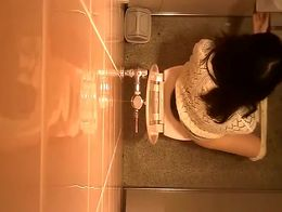 Spy camera in public toilet ceiling catches women seating in the toilet to take their pee and c...