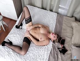Sexy Blonde With Stockings High-heels