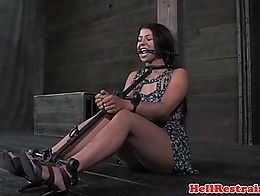 Restrained bastinado sub drools while punished with mouth gag