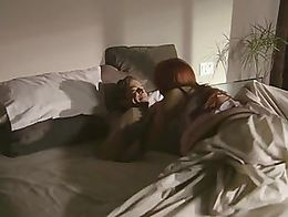 Jayden Cole kisses a guy in bed and he plays with her tits. She is wearing black thong panties ...