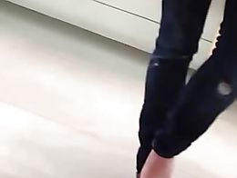 Candid Teen Feet Dipping Shoeplay Toes at Phone Store